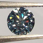 Blue Cultured Diamond w/ hearts and arrows on rollover