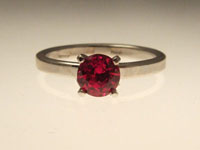red ruby diamond alternative engagement ring