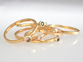 stacking colored diamond rings