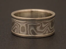 etched woodgrain mokume gane wedding ring