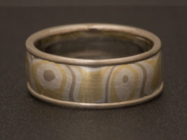 mokume gane wedding ring yellow white gold
