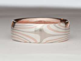 Mokume Gane star pattern in silver red and white gold