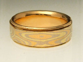 mokume gane wedding ring - red, yellow, white gold
