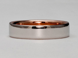 Platinum wedding rings with gold liner