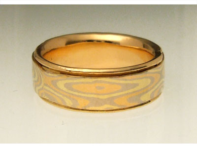 Yellow, White, and Red Gold Mokume Gane Wedding Ring with Gold Liner