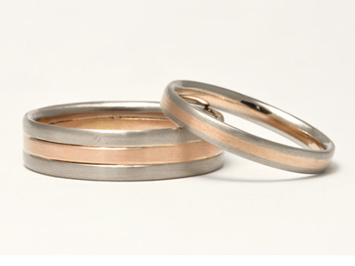Rose and White Gold Wedding Rings