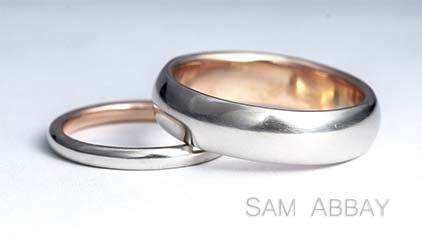 Platinum Wedding Rings with Red Gold Liner
