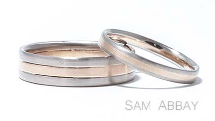 Red & White Gold Striped Wedding Rings
