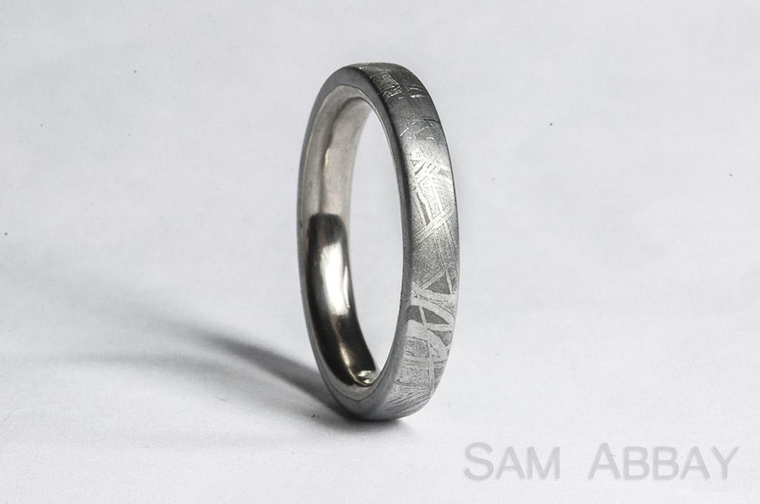 custom bands - Meteorite Wedding Ring