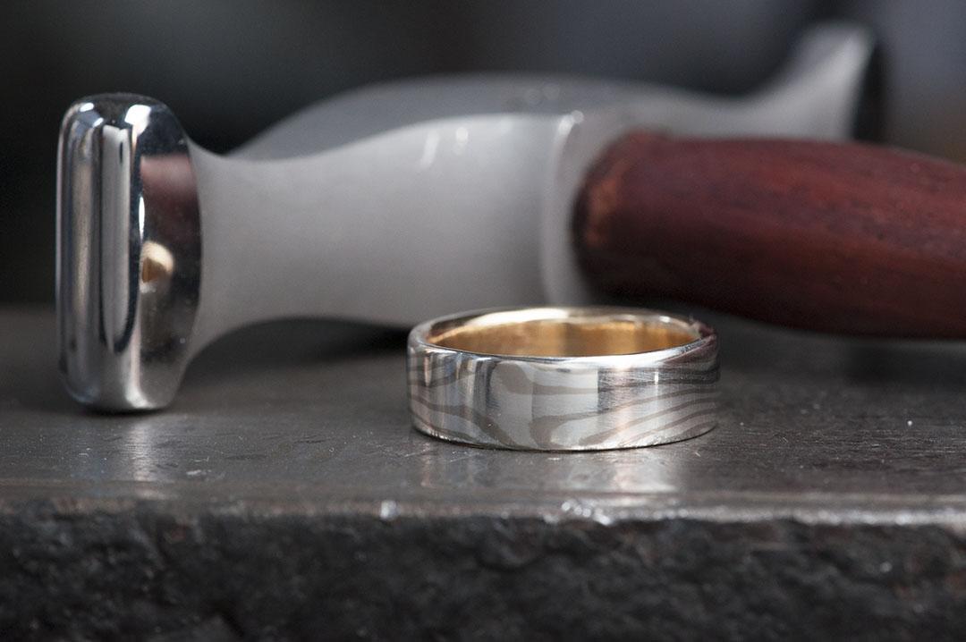 ungeschliffener mokume gane ring
