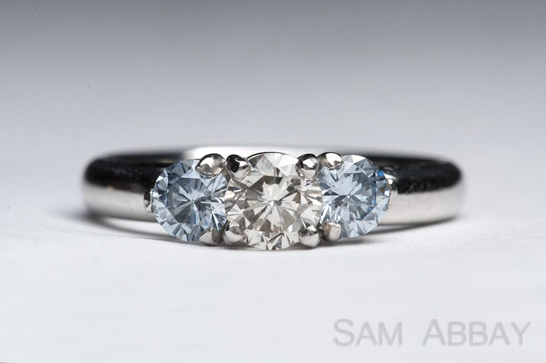 Wedding ring made out of a quarter blue