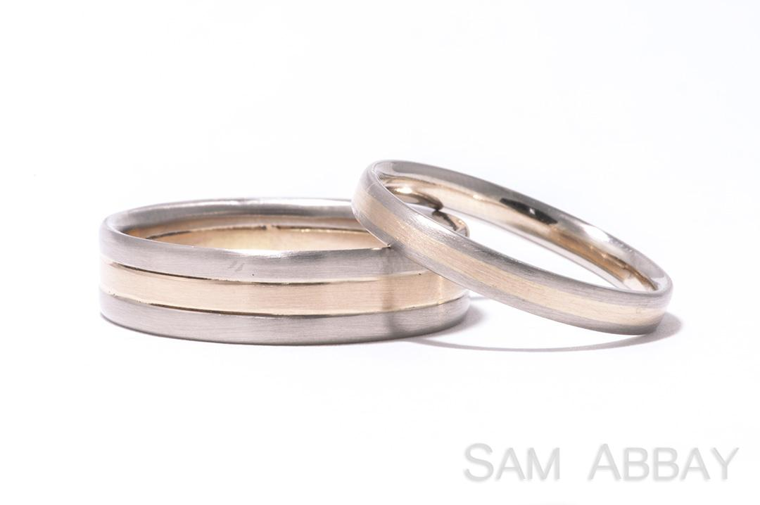 Red White Gold Striped Wedding Rings